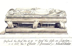 Pen drawing of the tomb of Otto II, Count of Guelders